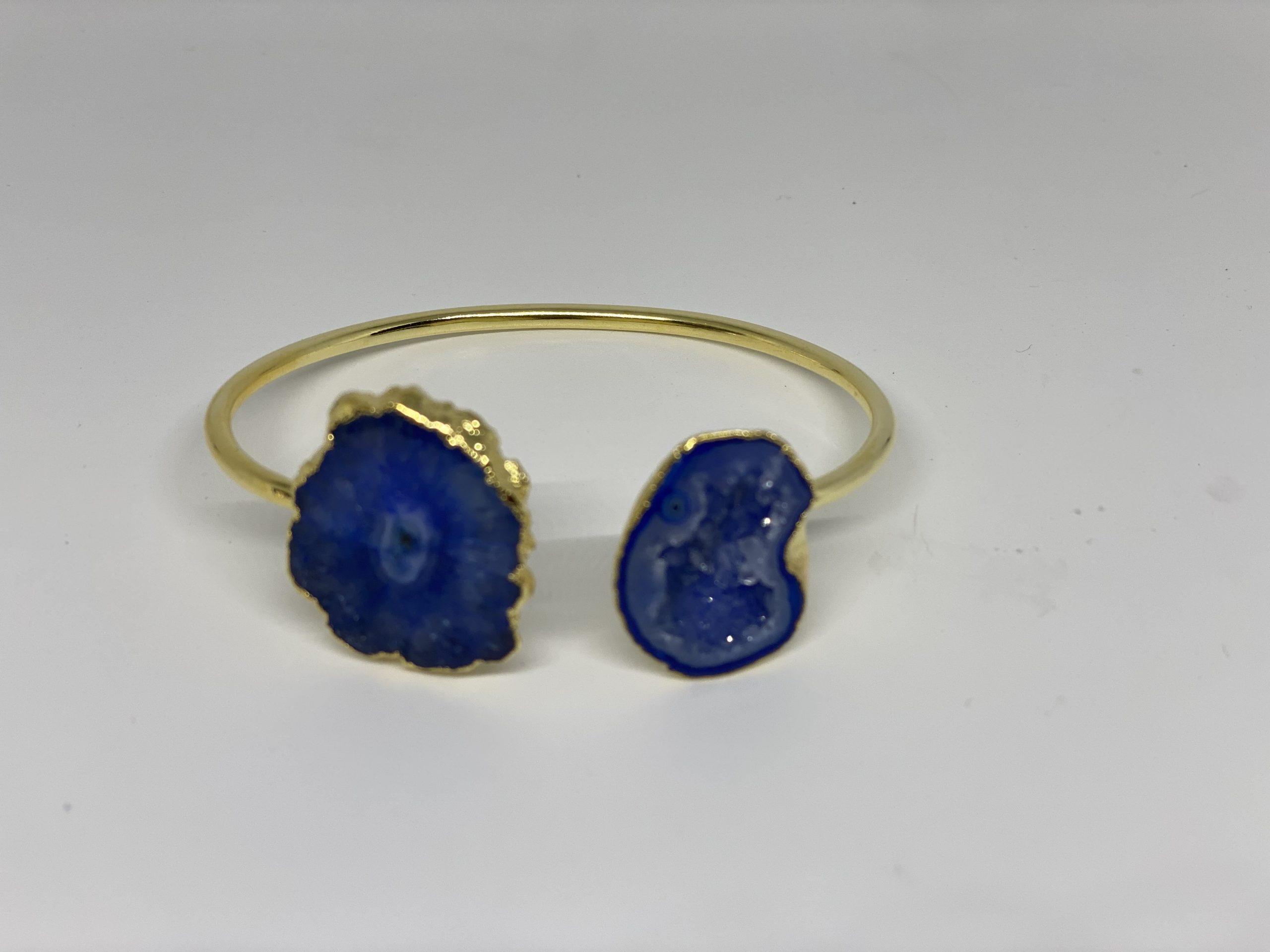 Quartz Bracelet  Blue Agate Bracelet